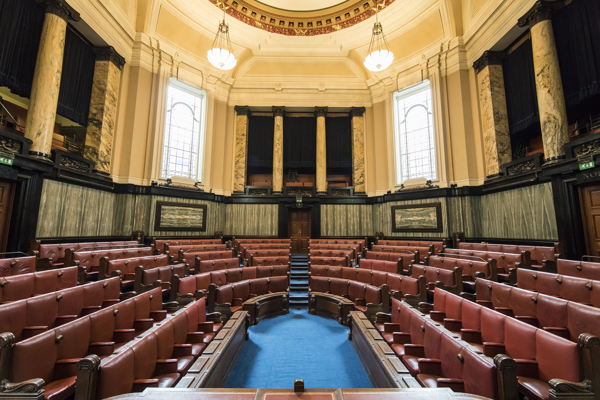 The courtroom setting in the chamber of County Hall