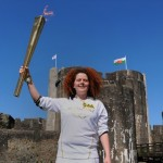 Bronwen Davies in front of Caerphilly Castle