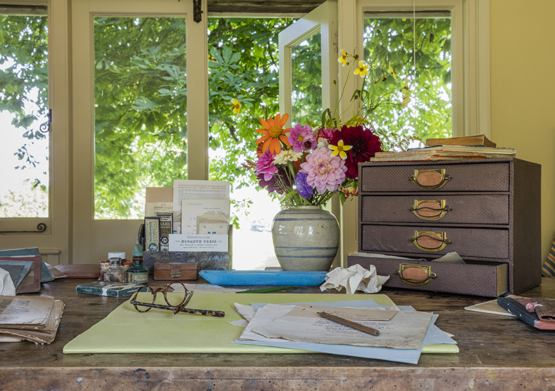Virginia Woolf's writing desk in the Writing Lodge at Monk's House