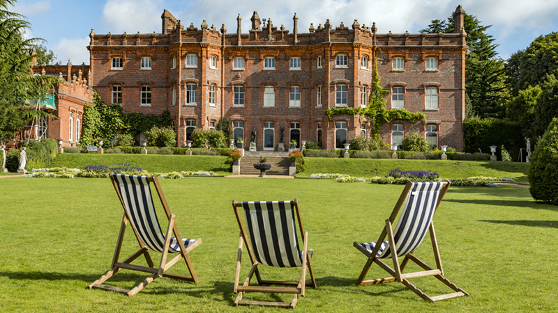 Deck chairs on the lawn at Hughenden Manor, Buckinghamshire