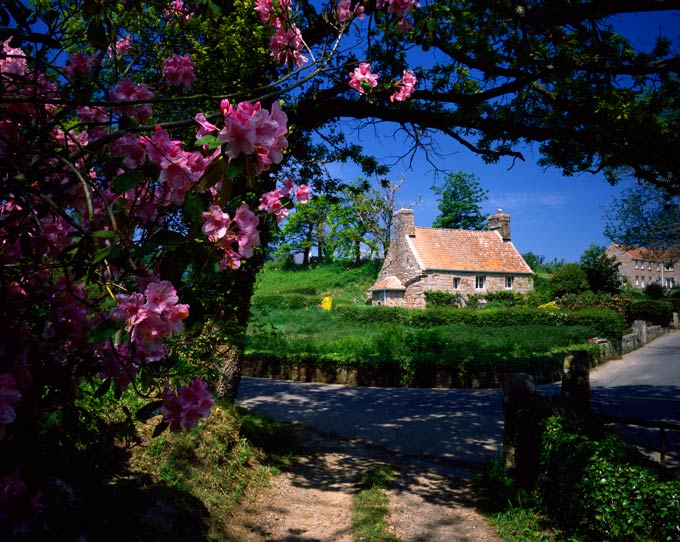 Picturesque Le Rât cottage, built of pink granite,  is a treasured National Trust property in the heart of  St Lawrence, on Jersey