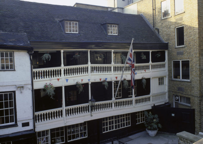 The George Inn, the only remaining galleried inn in London.