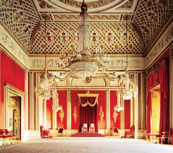 Throne room at Buckingham Palace. Inside Buckingham Palace, London