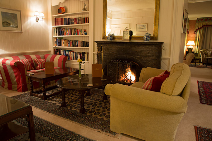 Airds Hotel, open fire in the lounge. Port Appin, Argyll, Scotland