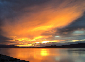Airds hotel autumn sunset, Port Appin, Argyll, Scotland. Airds hotel views