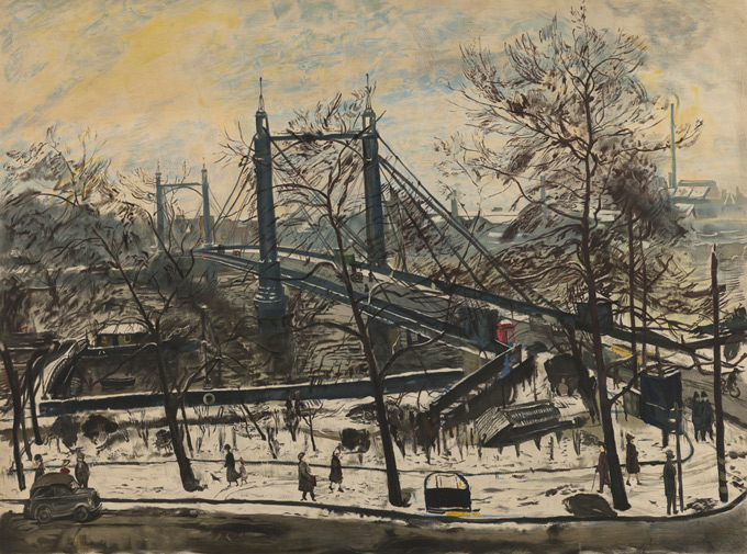 Albert-Bridge,-1947-by-Carel-Weight