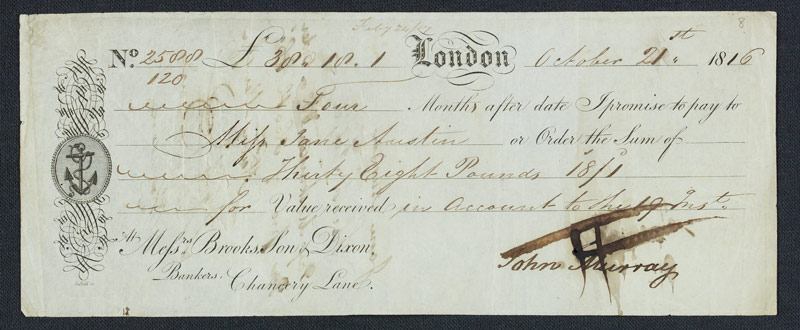 Jane Austen cheque. Credit: National Library of Scotland