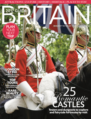 BRITAIN Guide 2017 Cover. The Queen's Life Guard at Trooping the Colour in London. Credit: Travelpix/Alamy