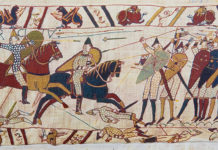 The Bayeaux Tapestry tells the story of the Norman Conquest