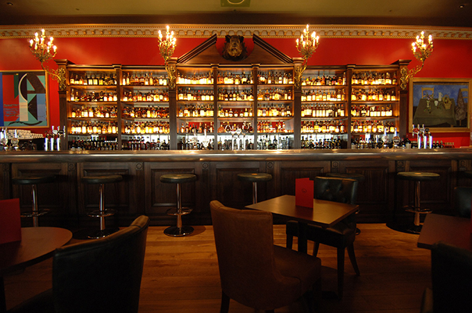 Whisky bar at Boisdale, Canary Wharf, London