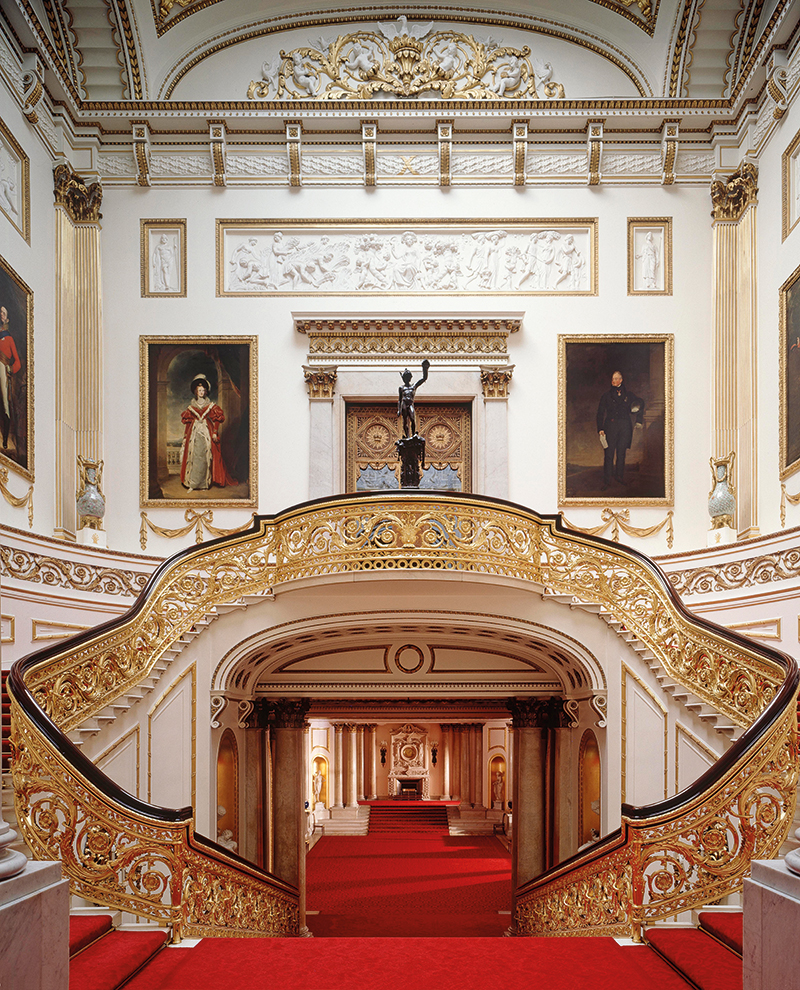The ornate interior of Buckingham Palace