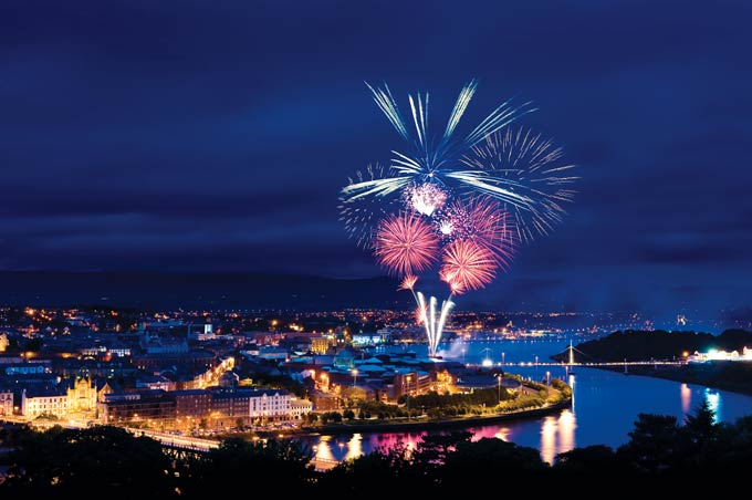 A fireworks display marks the opening of the Peace Bridge © Alamy
