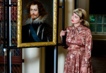 Pippa Stephenson, curator of European Art at Glasgow Museums, with the lost Rubens' painting 'George Villiers, First Duke of Buckingham'