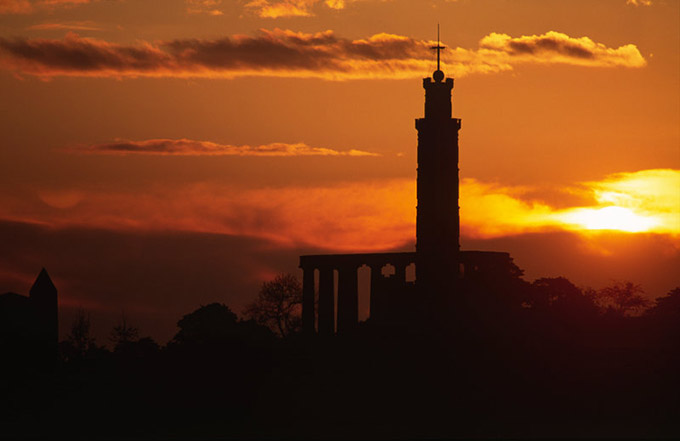 Sunrise over the Nelson Monument on Calton Hill, Edinburgh