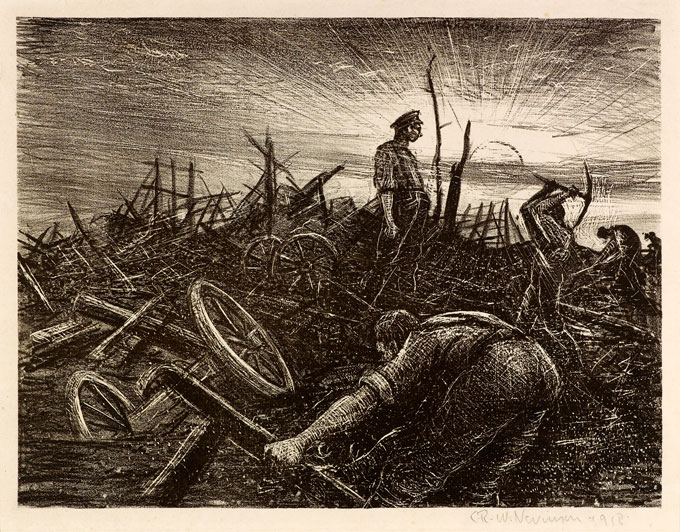 CRW-Nevinson,-After-a-German-Retreat_-labour-Battalion-Making-a--Road-through-a-Captured-Village,-1918,-lithograph,-23.3-x-31.2-cm.-Courtesy-Osborne-of-Samuel