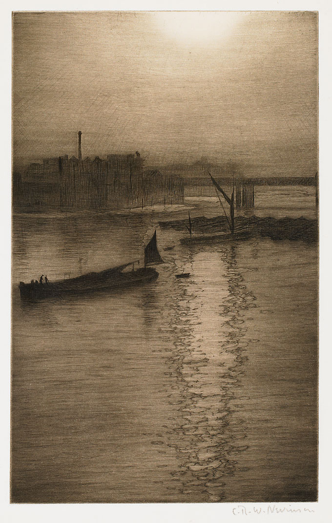 CRW-Nevinson,-From-Waterloo-Bridge---Sun-Bursting-through-fog,--1924_6,-drypoint-&-aquatint,-27.5-x-17.5-cm.-Courtesy-of-Osborne---Samuel