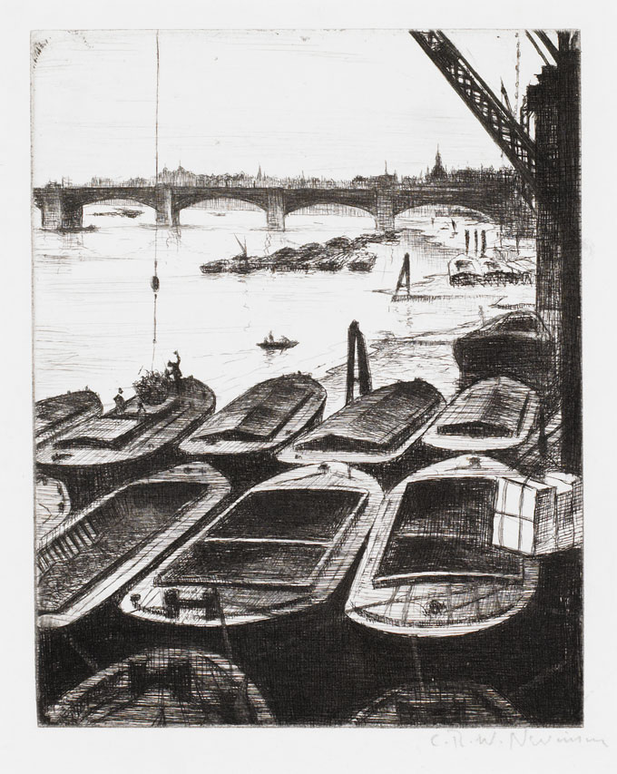 CRW-Nevinson,-The-Pool-of-London-(also-known-as-Swing-End--Barges),-c.1920,-drypoint,-17.5-x-14-cm.-Courtesy-Osborne-of-Samuel