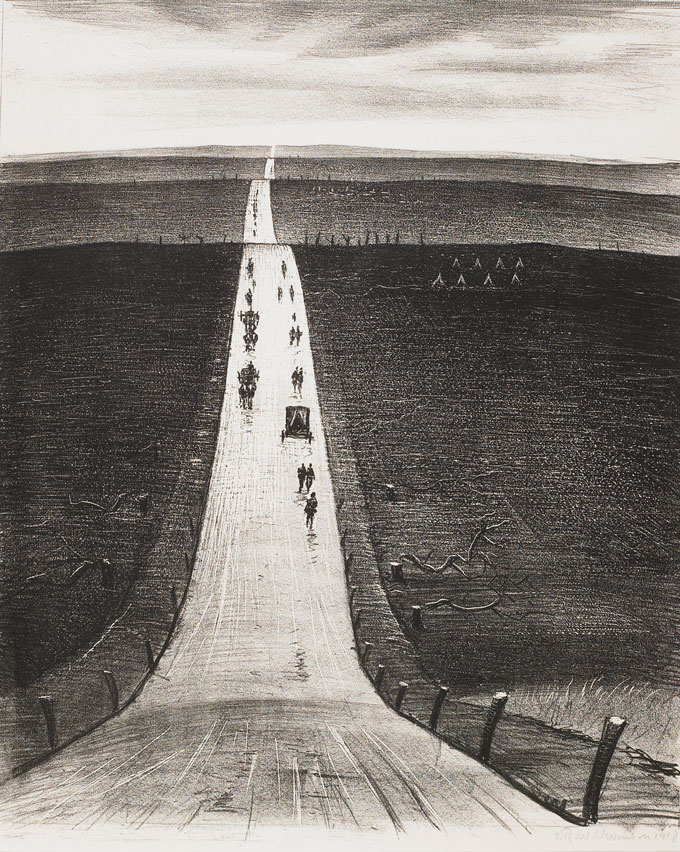 CRW-Nevinson,-The-Road-from-Arras-to-Bapaume,-1918,--lithograph,-47.2-x-38.5-cm.-Courtesy-of-Osborne-Samuel