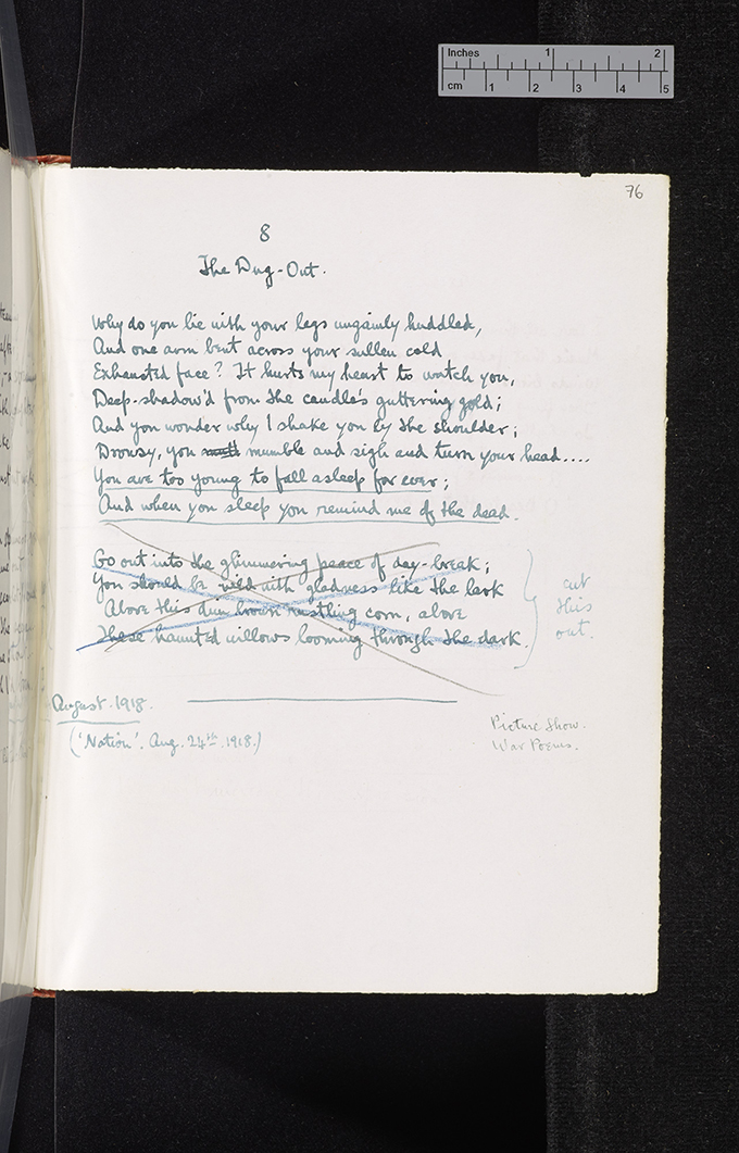 CUL Sassoon poetry notebook 1918 08 The Dug-out