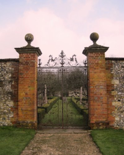 Beautiful wrought iron gates lead into the gardens at Chawton House Library