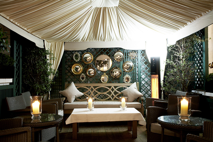 Cigar and Cognac Garden at Dukes Hotel, Mayfair, London. Hotels in central London