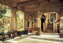 Tapestries line the walls of the hall at Cliveden