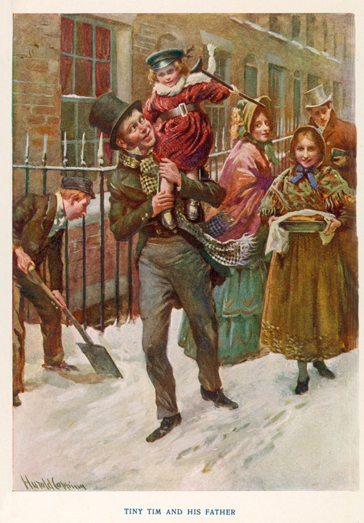 Bob Cratchit carries Tiny Tim on his shoulder in an illustration of A Christmas Carol