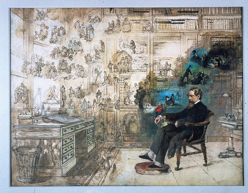 Victorian watercolour Dickens' Dream depicts the author in his Gad's Hill Place study