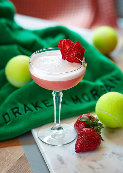 The Strawberries and Creme cocktail by Drake and Morgan. Wimbledon Tennis fortnight