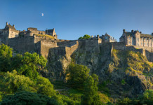 Early evening over Edinburgh Castle, Scotland. Edinburgh Castle history