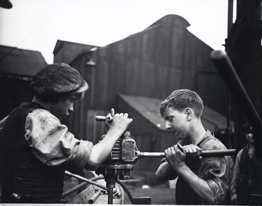 Untitled (shipbuilding apprentices, Tyneside), 1937, by Edith Tudor-Hart. When We Were Young exhibition, National Galleries of Scotland
