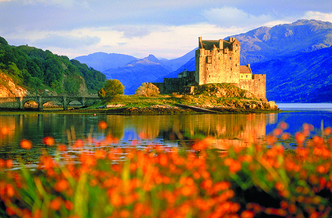 Castle and Loch, Eilean Donan, Highland, Scotland. Jacobite Rebellion of 1745/ Bonnie Prince Charlie and the Jacobites