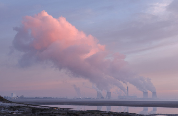 Fiddlers Ferry Power Station at dawn, Cuerdley, Cheshire, England