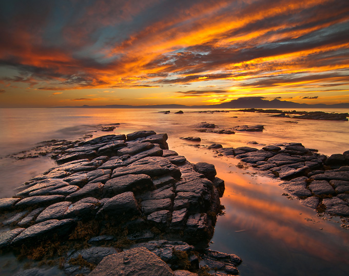 Fiery sky over the Isle of Arran, Firth of Clyde, Scotland