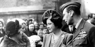 King George VI and Queen Elizabeth visit families at Peckham Central School Community Centre