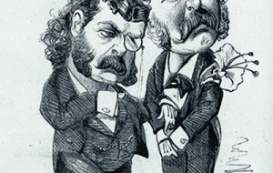 Caricature of Arthur Sullivan and W S Gilbert. Credit: Mary Evans Picture Library 2013