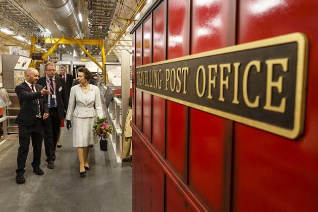 The Princess Royal takes a ride on the Mail Rail. The Princess Royal explored the quirky history of the most royal of British institutions, the Royal Mail, and discovered the origins of the world's earliest social network: the post. Credit: Miles Willis/Getty Images for The Postal Museum)   Princess Anne opens the Postal Museum and Mail Rail
