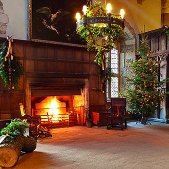 Haddon Hall at Christmas, Peak District, Tudor manor house. Traditional British Christmas events 2017