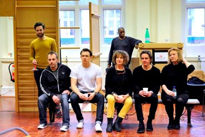 The cast of Hamlet watches on during rehearsals in London. Photo compliments of Keith Pattison.