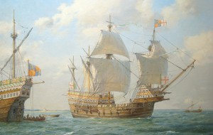 Here is a painting by Geoff Hunt, of the Mary Rose in battle in the solent.