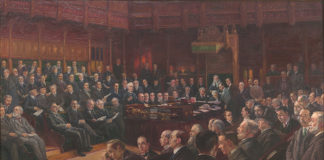 House of Commons 1914, oil on canvas by Leopold Braun, WOA 2949 Credit: Palace of Westminster Collection. www.parliament.uk/art | Parliament and the First World War | Westminster | Houses of Parliament