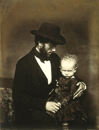 Unknown Man and Child, by James Good Tunny. When We Were Young exhibition, National Galleries of Scotland