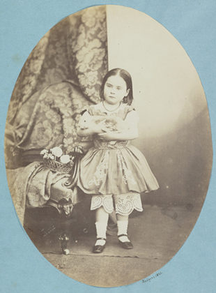 Esther Adamson with rabbit, 1860, albumen print. John Adamson or Thomas Rodger. When We Were Young Exhibition, Scottish National Galleries