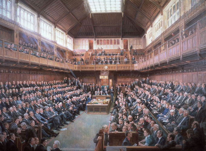 houses of parliament interior.  House of Commons 1986 oil painting June Mendoza 1987 Palace Westminster Collection www parliament uk art Art Tours Parliament Britain Magazine The official magazine