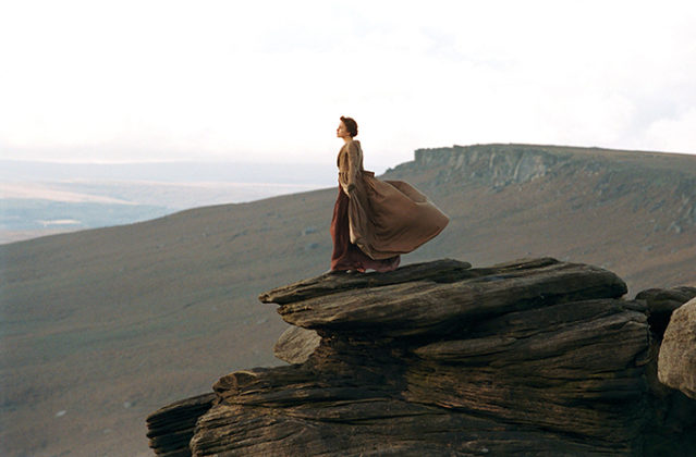Keira Knightley stands on Stanage Edge in the Peak District in an iconic scene from 2005's Pride and Prejudice. Peak District photos