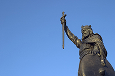 King Alfred the Great statue. Ancient history of London timeline