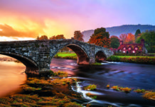 Stormy Sunrise at Llanrwst Tea Rooms, Snowdonia, Wales. Credit: Joe Daniel/Getty