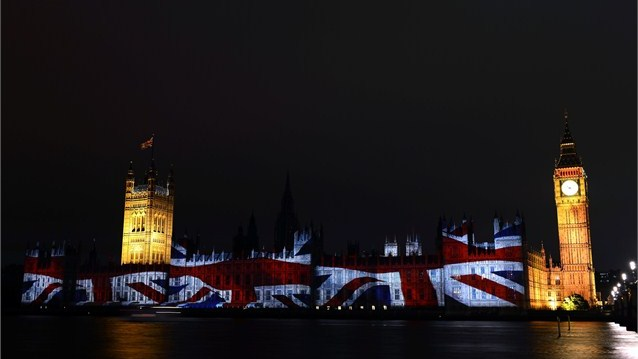 London 2012 Union Flag projected Houses of Parliament