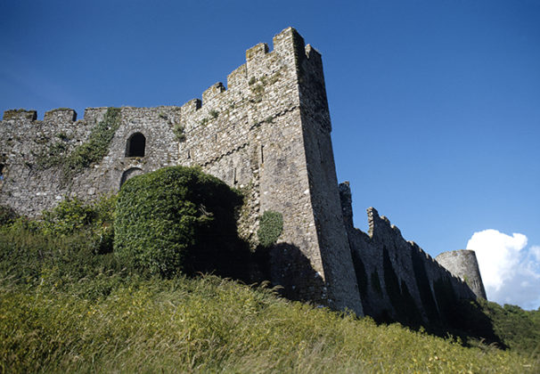 Manorbier Castle on the Pembrokeshire coastline, Wales. Castles in Wales