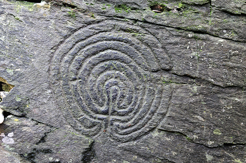 A labyrinth carved into Rocky Valley at Tintagel in Cornwall.